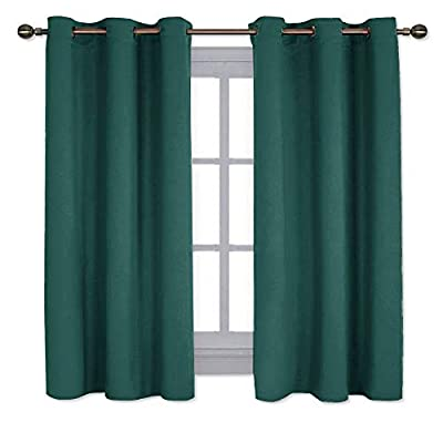 NICETOWN Living Room Window Curtain Panels, Thermal Insulated Solid Grommet Blackout Draperies/Drapes (Hunter Green, One Pair,42 by 54-Inch)