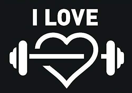 myrockshirt I Love Training 25cm Fitness Bodybuilding Kraftsport Hantel mit Herz Aufkleber Autoaufkleber Profi-Qualität ohne Hintergrund Sticker UV&waschanlagenfest
