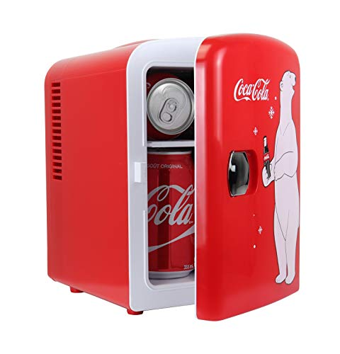 Coca-Cola KWC4 KWC-4 4 Liter/6 Can Portable Fridge/Mini Cooler for Food, Beverages, Home, Office, Dorm, Car, Boat-AC/DC Plugs Included, 4.2 Quarts, Red/White