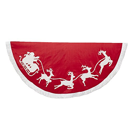 Kurt Adler - 50' Red and White Embroidered Santa and Reindeer Tree Skirt