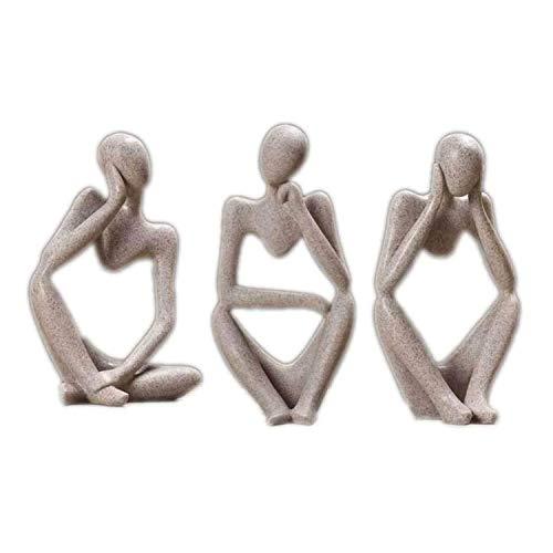 Siunwdiy Die Denker-Statue, handgemachte abstrakte Denker-Skulptur Moderne Menschen Ornament Figur Schreibtisch Dekor Home Statue Handwerk Figur Dekoration,Grau