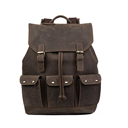 Casual Daypacks Backpack - 32×15×40 cm Dark Brown Large Capacity Retro Leather Computer Bag, Multi-Functional Casual Backpack for Men and Women, Infantry Pack
