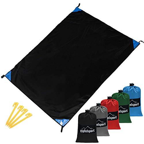 gipfelsport Picknickdecke - Outdoor Picknick Decke I Stranddecke, wasserdicht, waschbar, sandfrei I 200x140 cm groß I schwarz