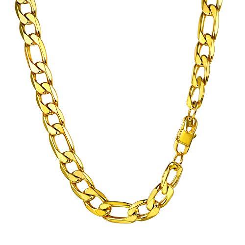 PROSTEEL Cadena Hombre Curb Cuba Chain Collar de Aleación Plateado Collar Hombre Collares Hombre Cadena Figaro 13mm
