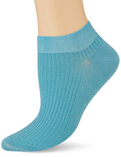 FALKE Damen Shiny Rib W SN Sneakersocken, Blau (Oriental Blue 6652), 35-38