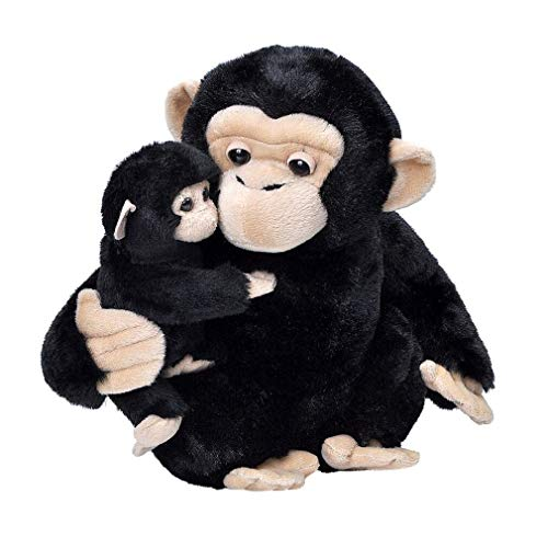 Wild Republic Mom and Baby Chimpanzee Stuffed Animal 12 inches Gift for Kids Plush Toy Fill is Spun Recycled Water Bottles