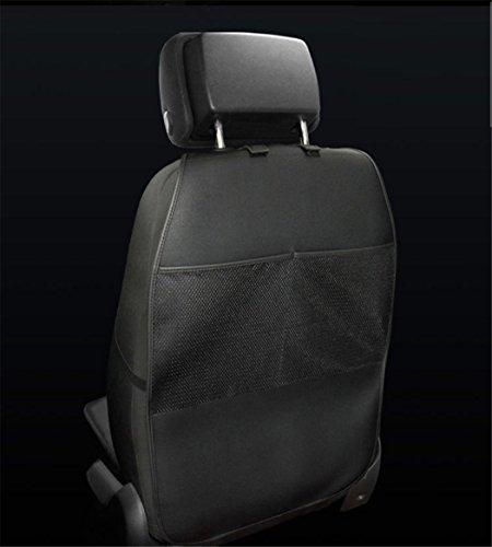 ZHCJH 2Pcs Premiumleder Wasserdicht Autositz Organizer Rückenlehnenschutz Große Auto Rücksitz-Organizer Für Kinder, Kick-Matten-Schutz In Universeller Passform,Black
