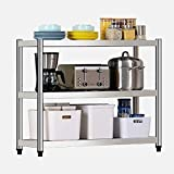 Nivel 3 Shelf estanterías, multiusos 201 del estante de acero inoxidable de almacenamiento de pequeño, 153 kg de soporte de cargas por piso, de la Oficina Baño Cocina Sala ( Size : 100X35X80CM )