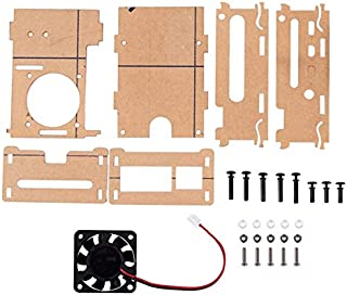 SODIAL for Raspberry Pi 4B Acrylic Case, Heat Sink, Cooling Fan Adapter Pi 4 B Accessories Kit