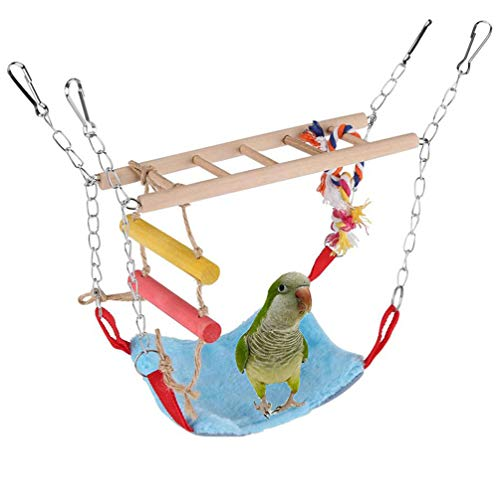 Bird Toy Set Wood Ladder Winter Warm Hammock Nest Bed Parrot Parakeet Cockatiel Conure Cockatoo African Grey Amazon Lovebird Finch Canary Budgie Hamster Chinchilla Cage Swing Stand Perch
