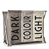 LAUNDRY BASKET Hamper Bin for Lights Darks and Colours | Large Laundry Sorter with 3 Compartments | Collapsible Washing Basket | Bedroom Triple Compartment Folding Fold Able