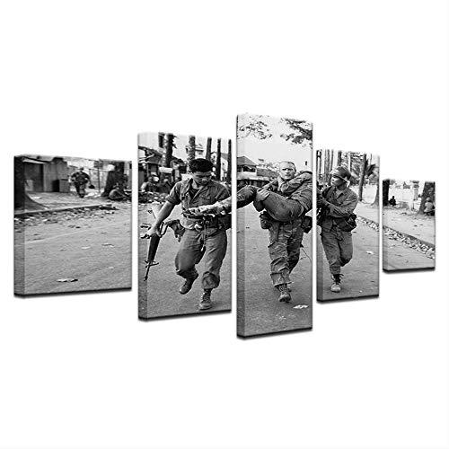 NVSHENY-LOVED Wand aet 5 Panel Modulare Soldaten im Krieg Speichern Zivilisten Malerei Leinwand Wandkunst Bild Wohnkultur Wohnzimmer Leinwand Druck Malerei