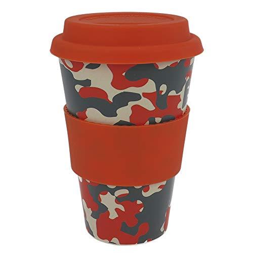 ebos Coffee-to-Go Becher aus Bambus – melaminfrei | Wiederverwendbarer Trink-Becher aus natürlichen Materialien | spülmaschinen- und mikrowellengeeignet | Carmouflage orange