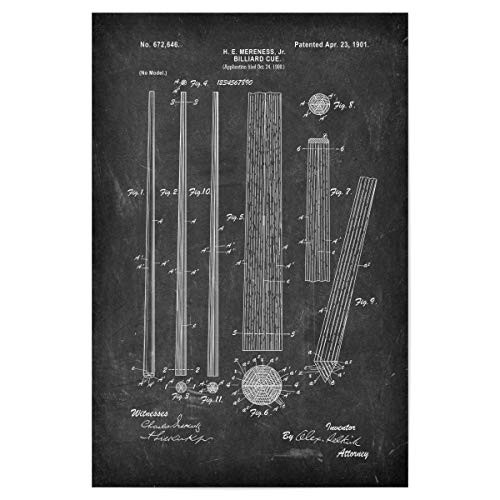 artboxONE Poster 45x30 cm Schwarzweiß Billard Queue (Tafel) - Bild poolbillard billardspiel Blaupause