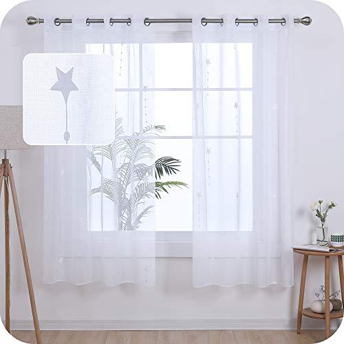 UMI. by Amazon 2 Stück Gardinen Transparent Ösenvorhang Vorhangschals mit Stern Stickerei 175x140 cm Weiß