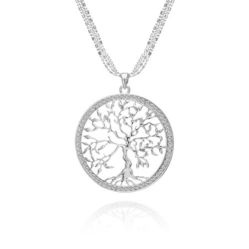 PJ Tree of Life Pendant Necklace with CZ Crystal for Women, Celtic Long Chains Luck Life Tree Charms Necklaces, Costume Jewelry Accessories