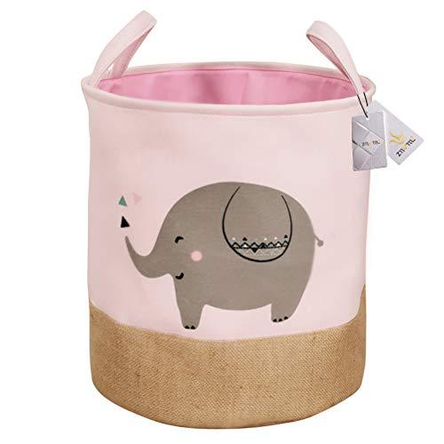 Znvmi Faltbare Aufbewahrungskorb Große Baby Wäschekörbe Wäschesammler Kinderzimmer Aufbewahrungsbox Stoff Runde Spielzeugkiste Cartoon Elefant - Rosa