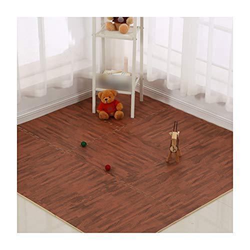 LXZFJW Azulejos de espuma de espuma de EVA que entrelazan azulejos protectores de suelo con bordes Grain-madera oscuro grano 30 × 30 × 1.2 cm 16 piezas