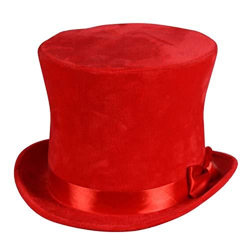 shoperama Cilindro de terciopelo con cinta de raso y lazo, talla 56-58, color rojo