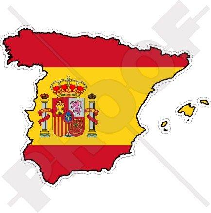 Espagne Espagnol Carte-Drapeau Espana, 120mm Vinyl Sticker, Autocollant