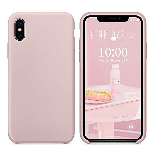 SURPHY Coque iPhone XS, Coque iPhone X, Silicone Liquide Case avec Doux Microfibre Coussin Doublure Cover Protection Bumper Anti-Choc Housse Étui pour iPhone XS/X 5.8 Pouces, Pink Sand