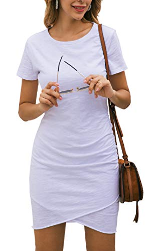 BTFBM Women's 2020 Casual Crew Neck Short Sleeve Ruched Stretchy Bodycon T Shirt Short Mini Dress (104White, Small)