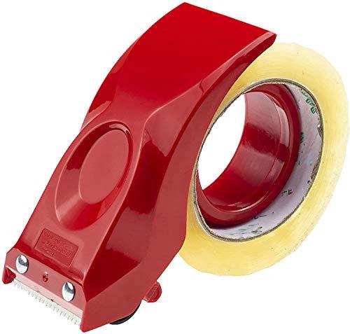 Prosun Dispensadores de Cinta Adhesiva con Mango Ergonómico, 50 mm Dispensador de Cinta para Fácil Utilización en Trabajos de Empaquetado, Rojo
