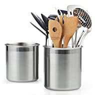 Cook N Home Stainless Steel Utensil Holder Jumbo 2PC set, 5.5-inch x 6.3-inch and 6.3-inch x 7.08-inch, Silver