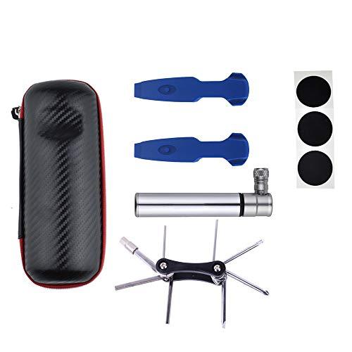 Pumpe für Fahrrad Universal Mini Fahrrad Schlauchpumpen Set Mit Fahrradreifen Reparatur Tool Kit & Glueless Pannenset Passend für Presta & Schrader Ventil (Farbe : Silber, Größe : 12.2cm)