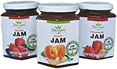 Stevien Jam No Added Sugar - 3 Jars - Keto and Diabetic Friendly, Vegan, Gluten Free, Made with Real Fruit - Sweet Strawberry, Peach, and Mixed Berry Jam Sweetened with Organic Stevia