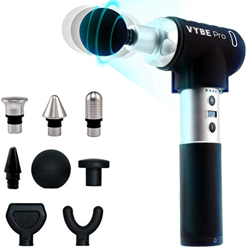 VYBE Percussion Massage Gun - Pro Model- Massager for Deep Tissue Muscle - for Pain Relief- 9 Speeds, 8 Attachments, Quiet, Portable, Electric and Handheld