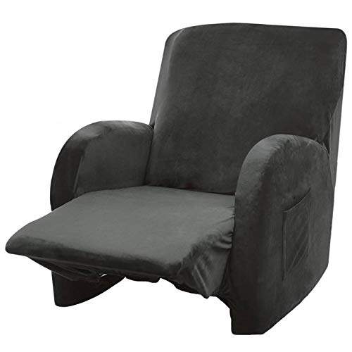 Argstar Velvet Recliner Cover One Piece, Fitted Recliner Covers, Cover for Recliner Chair with Pockets, One Piece Recliner Cover, Furniture Slipcover Recliner, Cover for Recliner Chair, Storm Gray