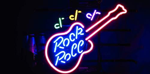 Rock roll Guitar Metal Frame Neon Sign 42CM32CM Real Glass Neon Sign Light for Beer Bar Pub Garage Room.