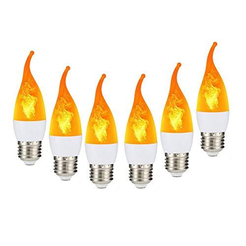 Lampe Glühlampen LED Birne Flamme Birnen Flackern Flammeneffekt-Glühbirne,für Kronleuchter,Atmosphäre Beleuchtung Festival Deco Dekorative Lampe für Weihnachten, Halloween, Festival,6er-Pack,E27