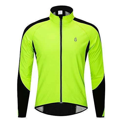 WOSAWE Fahrrad Jacke Herren Wasserdicht Winddicht Fahrradjacke Reflektierend MTB Fahrradbekleidung für Herbst Winter (BC213 Grün L)