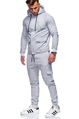 Juego de chándales para hombre conjunto de gimnasio top jogging joggers deportes traje zip con capucha pantalones manga larga deportes pantalones de baloncesto Sudaderas con capucha,Light gray,XXL