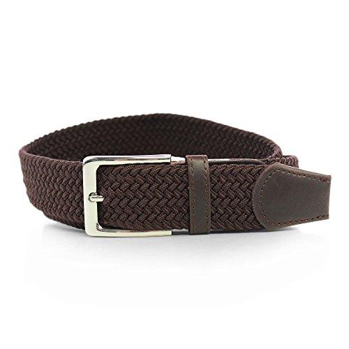 Cinturón elástico entrelazado, con piel de poliuretano,