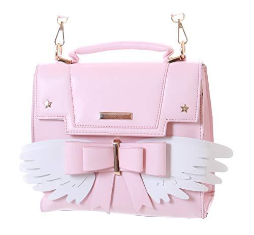 LB-163 - Bolso de piel sintética para mujer, diseño de alas con lazo y estrella, color rosa