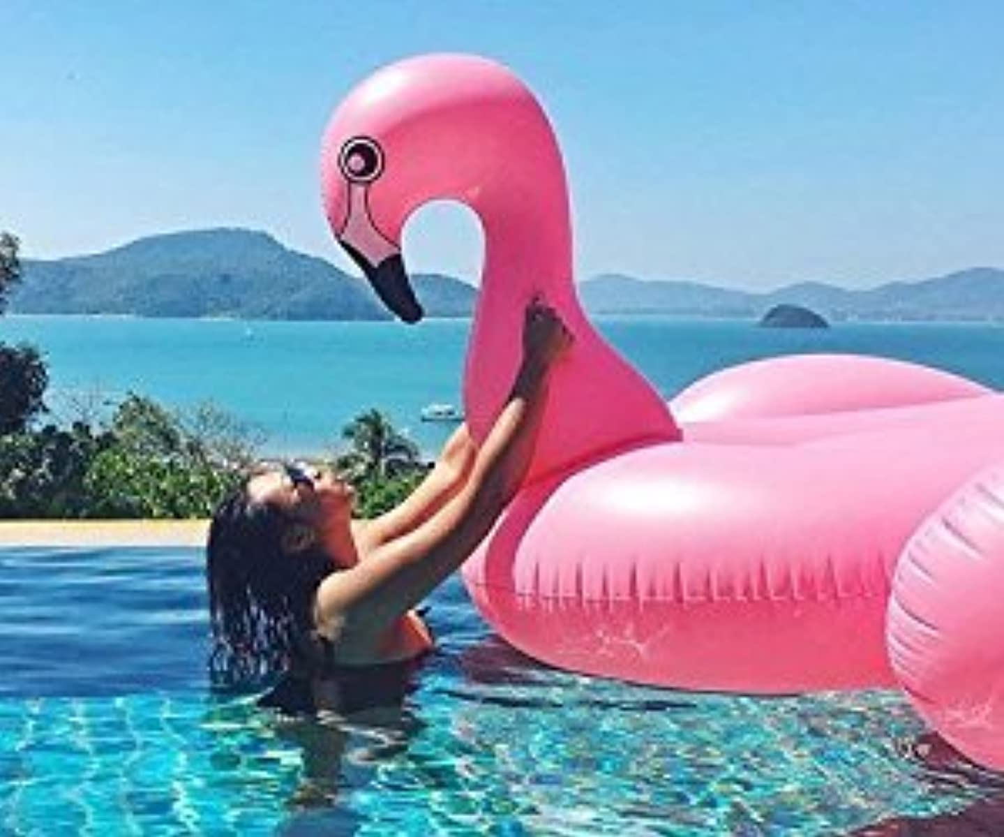 CLASSIC Giant Inflatable Pink Flamingo Pool Float - 80
