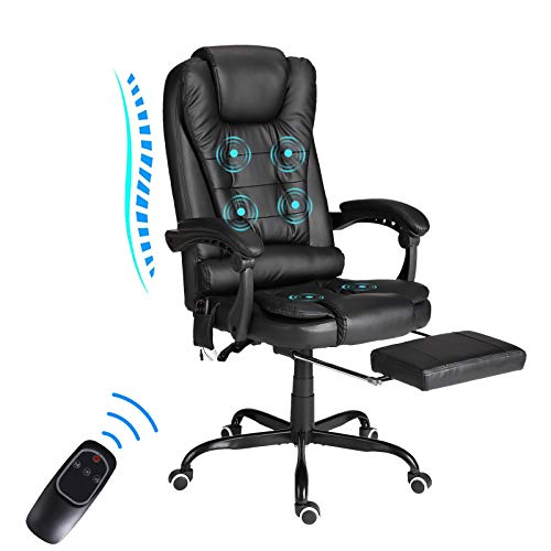Ergonomic Office Chair with Foot Rest - Executive Office Chair, Comfortable Reclining Massage Office Chair with Wheels and Arms, High Back, Wireless Remote Control, Lumbar Support (PU-Black)