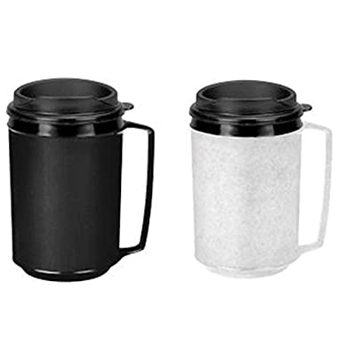 Two 12 oz Insulated Coffee Mugs like Classic Aladdin Mugs Thermo Serv- Black and Granite
