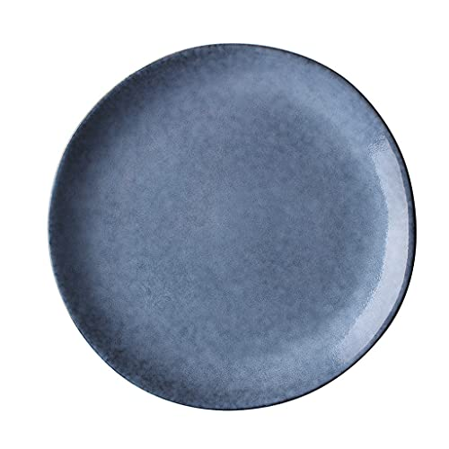 ZZRR Plato de Carne Irregular Retro Creativo Productos de cerámica Bajo vidriado Artesanía Puede Contener Ensalada de Frutas Pasta Microondas Apto para lavavajillas-8.5in Azul Gris
