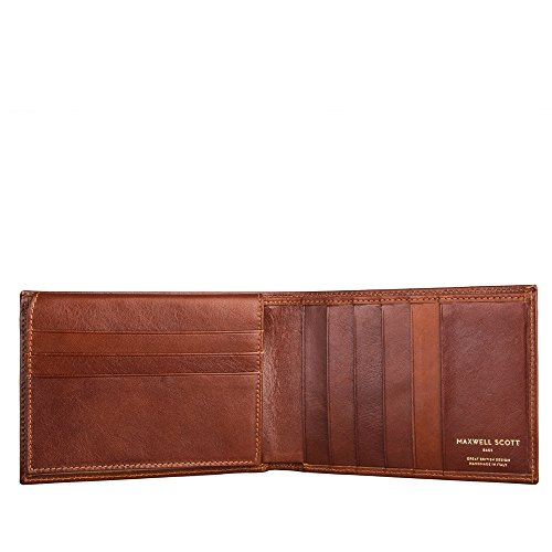 Maxwell Scott Personalized Leather Trifold Credit Card Wallet - Gallucio Tan