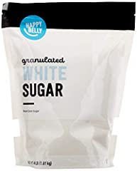 One 4lb bag of Happy Belly White Cane Sugar Granulated (Stand Up Pouch) Satisfaction Guarantee: We're proud of our products. If you aren't satisfied, we'll refund you for any reason within a year of purchase. 1-877-485-0385 An Amazon Brand
