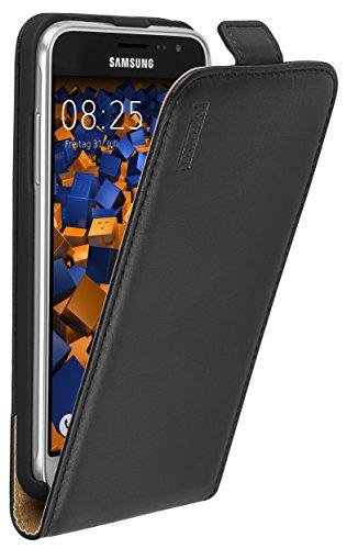 mumbi Tasche Flip Hülle kompatibel mit Samsung Galaxy J3 2016 Hülle Handytasche Hülle Wallet, schwarz
