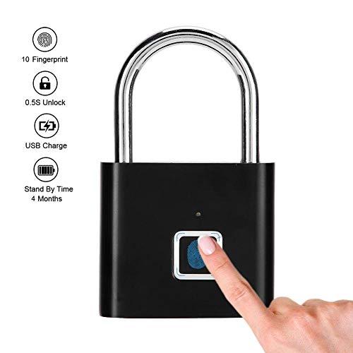 Vingerafdrukhangslot, draagbaar mini keyless veiligheidsslot voor intelligente vingerafdrukbescherming voor de lockerkast, USB-oplaadslot (zwart)