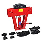 W4-Moto 12 Ton Heavy Duty Hydraulic Tube Bender 180 Degree Tubing Metal Steel Iron Exhaust Pipe Bending with 6 Dies Sets 1/2',3/4',1',1-1/4',1-1/12',2' (RED)