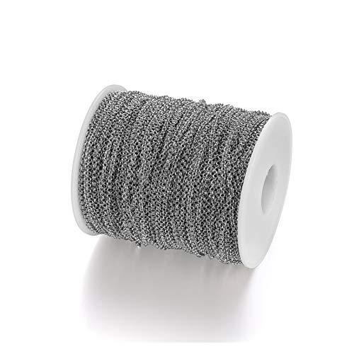 WEIGENG Cadena de extensión de cadena de 5 m/lote de 2 a 5,8 mm de largo para joyería hecha a mano (color: rodio, tamaño: 3,2 mm x 2 m)