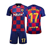 LLMM Jersey Soccer Maillot Barcelona Maillot Griezmann 17# Jersey Adulte Enfants Costume À Manches Courtes + Shorts Football Uniforme,22~(Child~30~35kg/130~140cm)