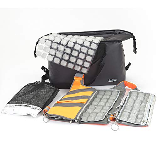 Professional Cooling Kit - Ice Vest with Additional Ice Sheets and Travel Cooler (Hi-Vis Orange)